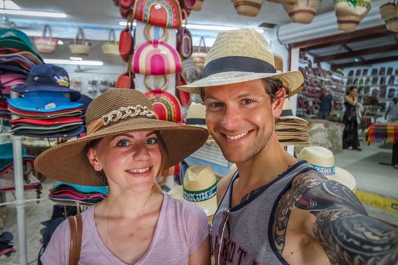 Mexico couple hats summer photo