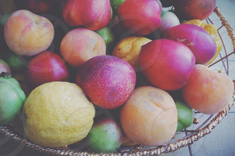 assorted fruits on the tray photo