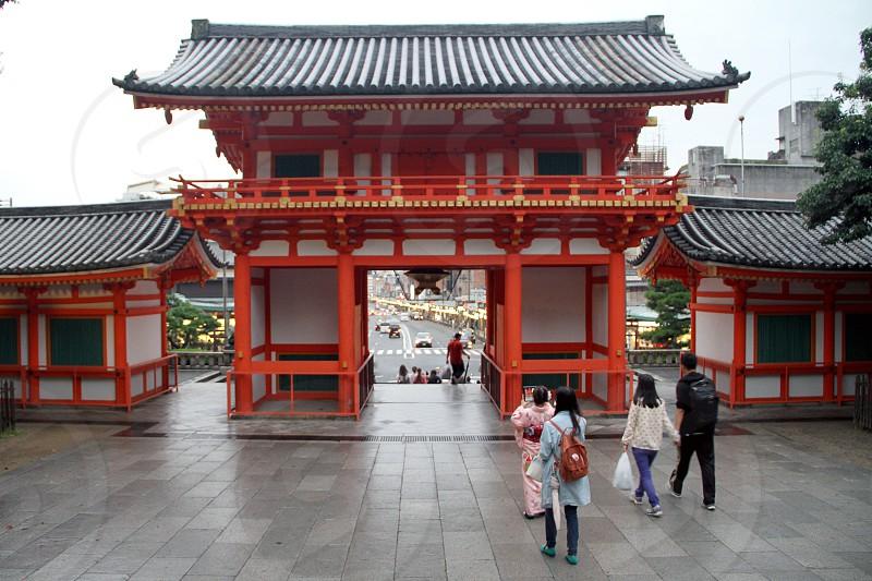 General view of Yasaka Shrine in Kyoto Japan. photo