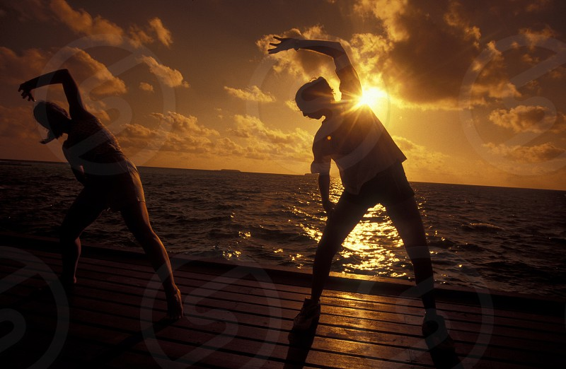 Sport and Gym in a resort of the island and atoll of the Maldives Islands in the indian ocean. photo