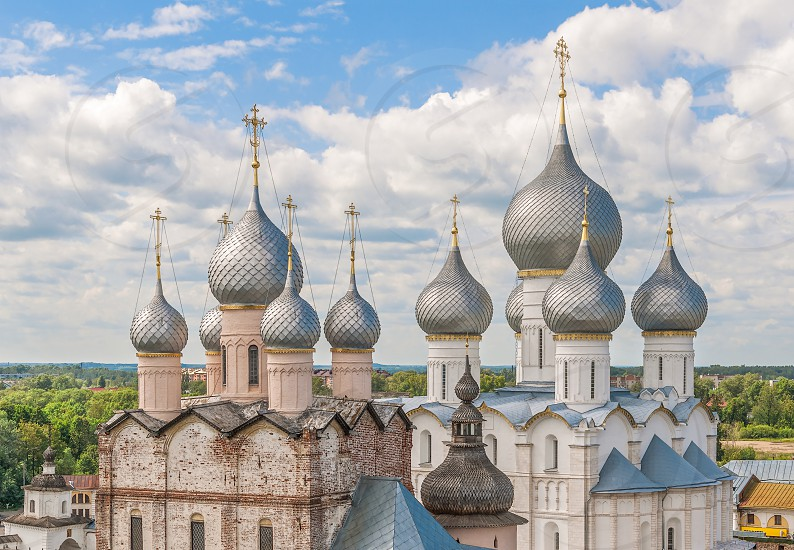 View of the church domes of the Rostov Kremlin from the observation deck. Yaroslavl region. Russia photo