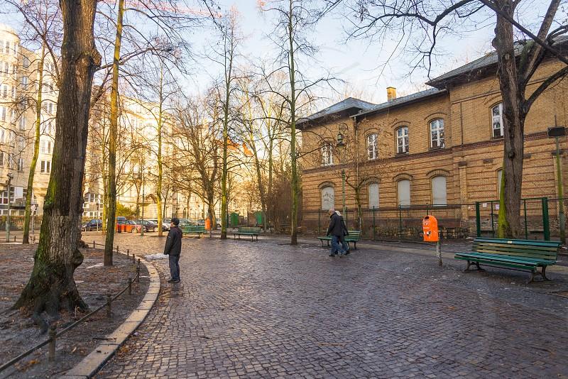 Scenery of park and buildings around Bar Vader Vernunft inside Wilmersdorf Neighborhood in Berlin Germany during winter season photo