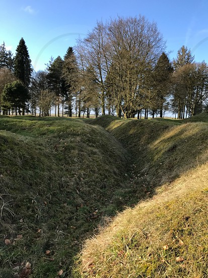 Outdoor day vertical portrait colour Beaumont Hamel France Somme western front Battle site battleground historic historical remembrance commemoration respect WWI WW1 World War One First World War Memorial country blue trench Trenches War warfare battle grass nature trees photo