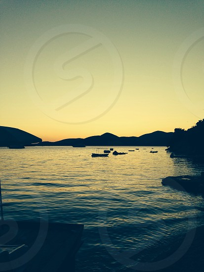 Bigova Montenegro. Sunset over the bay.  photo