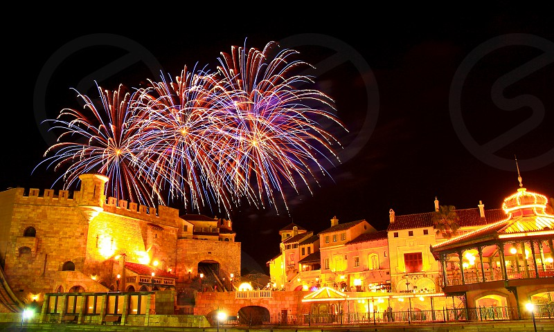 'Fireworks over city' (7)  Fireworks Fireworks over city New Year City European buildings Castle Sparkling Shinning Colorful Night view Horizontally long Laterally long Oblong  photo
