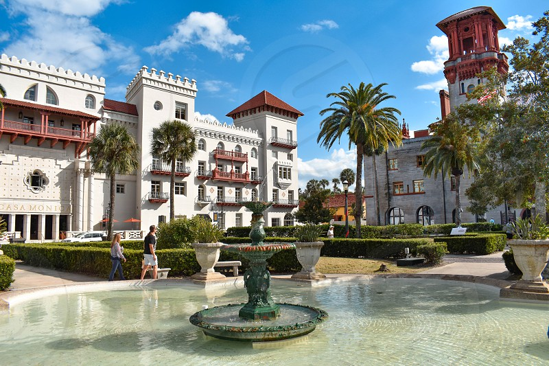St. Augustine Florida. January 26  2019. Beautiful fountain  Casa Monica Spa & Hotel and Lighter Museum in Florida's Historic Coast. photo