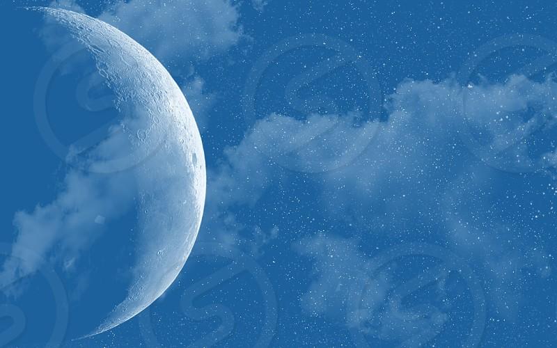 gray moon and blue sky photo