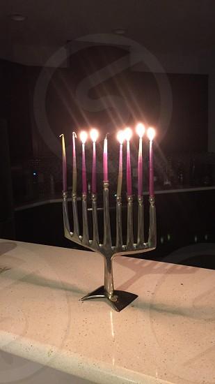 Menorah on the sixth night of Chanukah  photo
