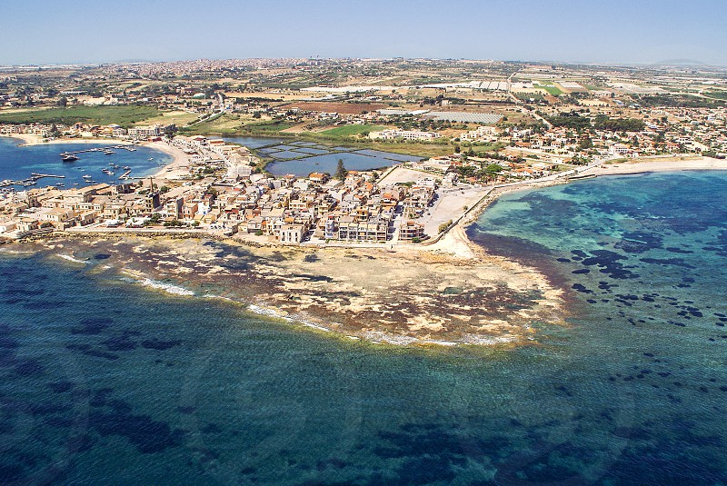 Aerial view of Marzamemi Sicily photo