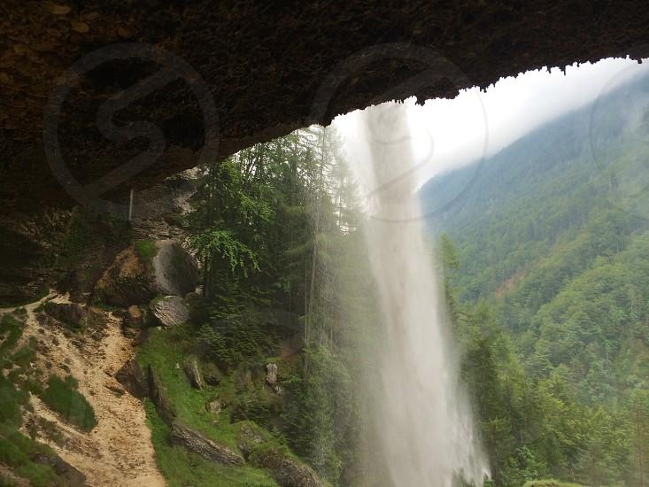 worm's eye view of waterfalls photo