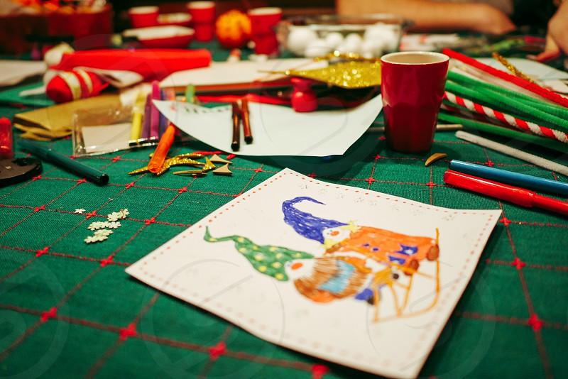 Christmas Christmas fun Christmas ornaments making Christmas cards glitter pens  pencils paper diy photo