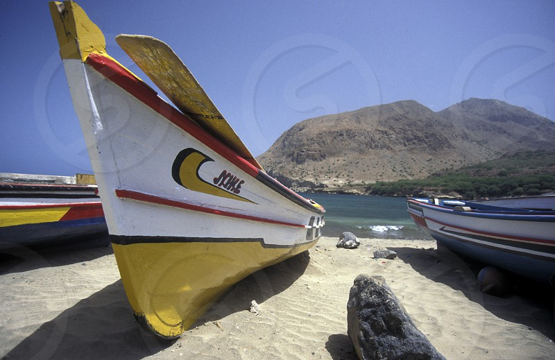 the Beach of Tarrafel in the north of the Island Santiago on Cape Verde in the Atlantic Ocean in Africa. photo