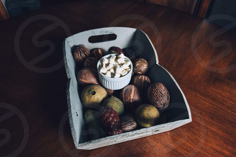 fruits on a gray wooden container photo