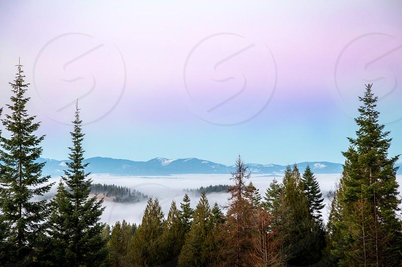 Eastern Washington sunset above the clouds  photo