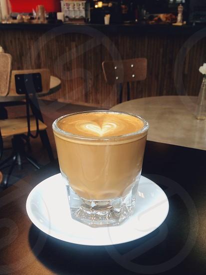 Cortado in a cafe photo