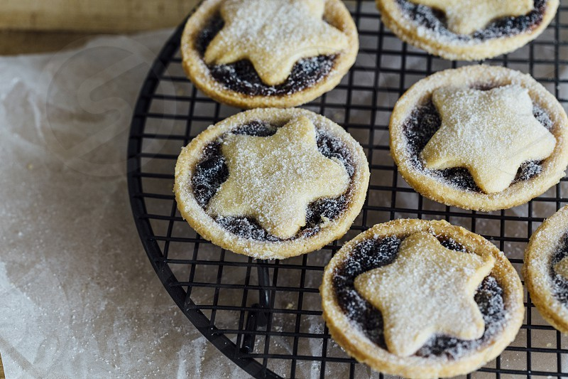 christmas mince tarts pies baking baked cooling rack  photo