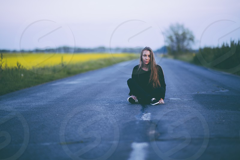 Woman on the road photo