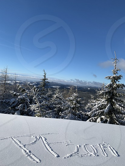 Mountain snowwinter cold forest New Years  photo