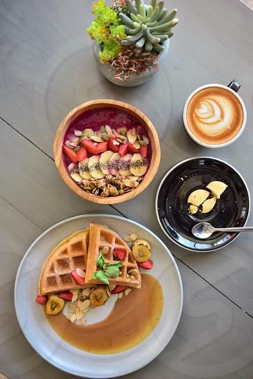 Waffle and coffee  photo