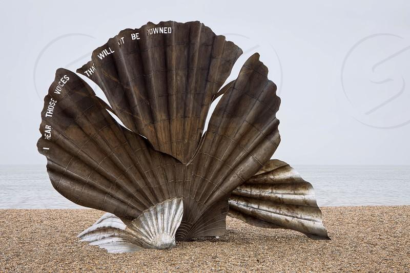 "Maggi Hambling""s The Scallop 2003 sculpture on the beach at Aldeburgh photo"