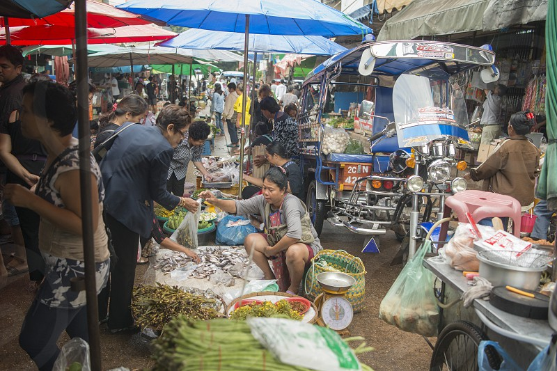the Tha Sadet Market in the town of Nong Khai in Isan in north east Thailand on the Border to Laos photo