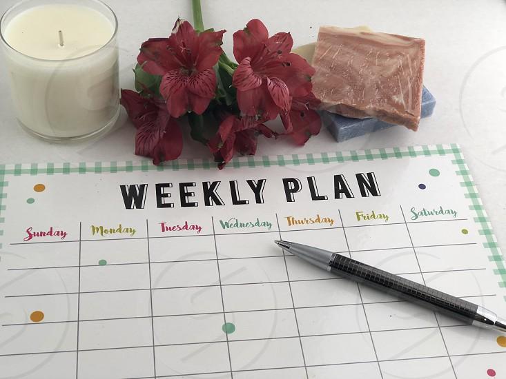 To do's & calendar week planning plans list lay flat desk photo