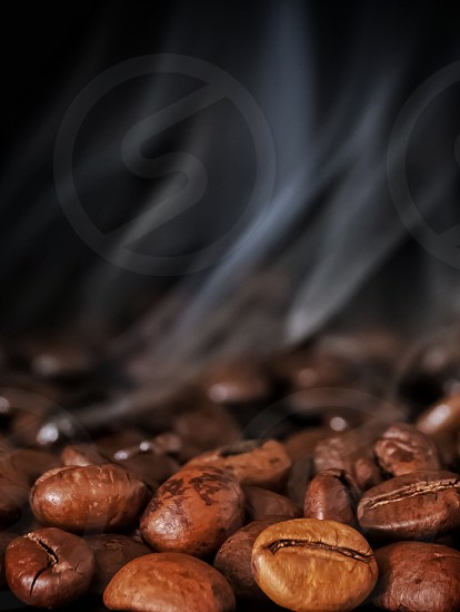 Coffee beans smoke vapour brown roasting  photo