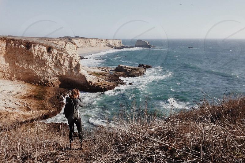Taking photos along the Pacific Coast Highway just north of Santa Cruz photo