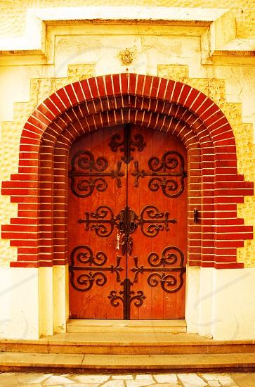 shanghai old german style house's  door at dusk photo
