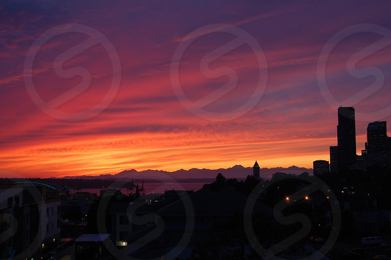 Seattle sunset over Puget Sound and Olympic Mountains photo