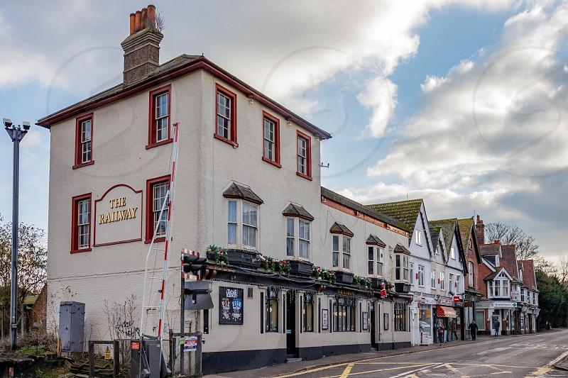 CRAWLEY WEST SUSSEX/UK - NOVEMBER 21 : The Railway Hotel in Crawley West Sussex on November 21 2018.. Four unidentified people photo