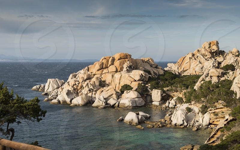 capo testa teresa di gallura  with rocks and blue sea on the italian island of sardinia photo