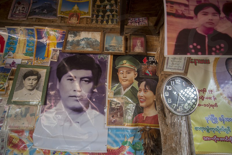 Pictures of San Suu Kyi in a Restaurant near the Town of Myingyan southwest of Mandalay in Myanmar in Southeastasia. photo
