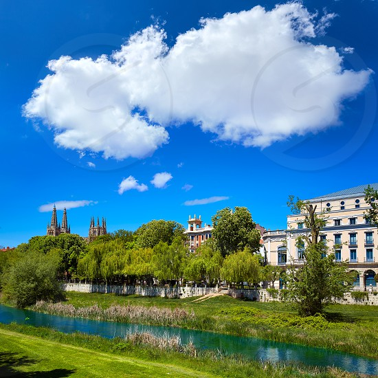 Burgos Arlanzon river and Cathedral in Castilla Leon of Spain photo
