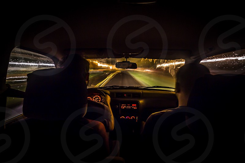 Drive driving road car friends friend night adventure trip wonder lines noir neo neo-noir arcade photo