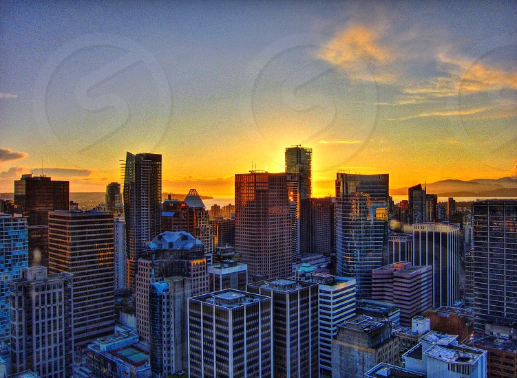 Sunset in the city photo