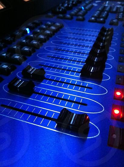 blue and black audio mixer photo