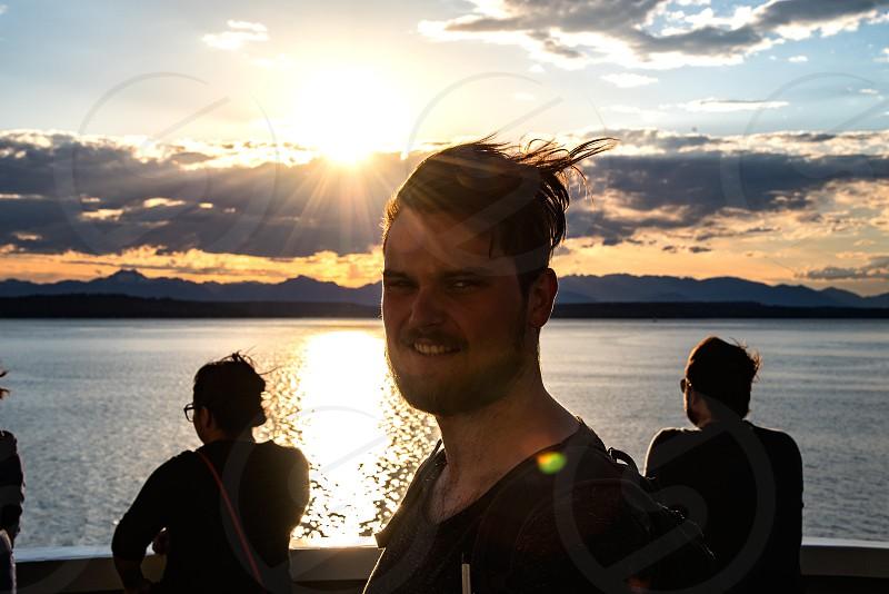Summer Breeze hair man beard silhouettes sunset boat seaside cruise travel photo