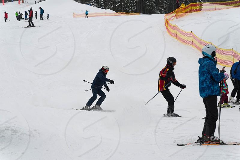 On the slopes of the ski resort in Ukraine photo