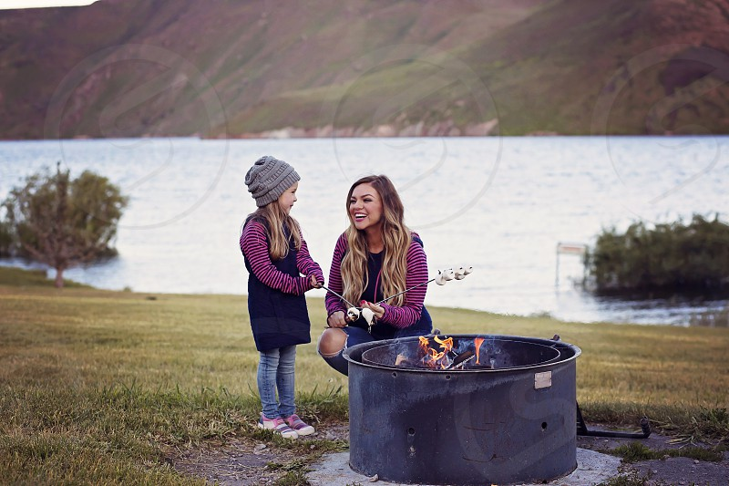 Idaho bonfire summer blacktail reservoir southeast Idaho family camping marshmallows smores photo
