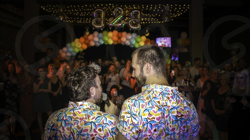 colourful engagement party photo