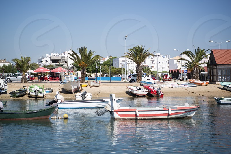 the landscape and coast at the town of Santa Luzia in the Algarve in the south of Portugal in Europe. photo