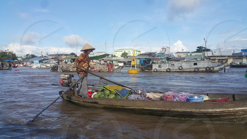Cai Rang floating Market in Vietnam. photo