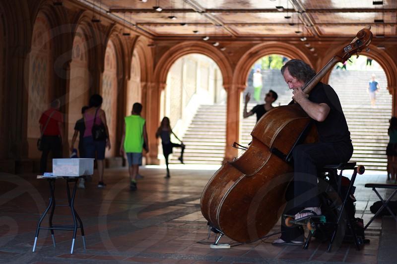man playing cello photo