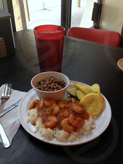 Shrimp Creole with black eyed peas squash and zucchini photo