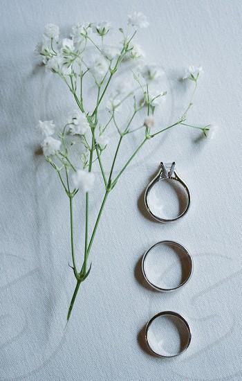 3 silver ring near white flower photo