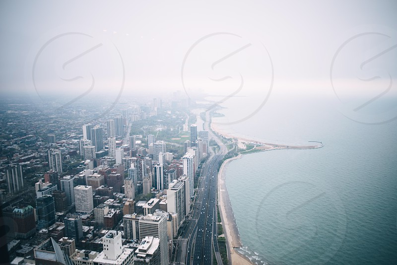 aerial photography of high-rise buildings near seaside photo