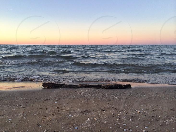 open beach lake sunset photo