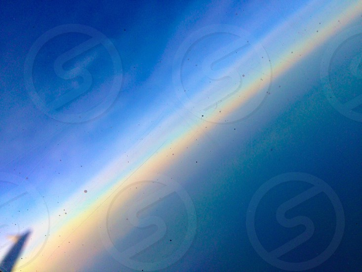 Horizon line beautiful color view from airplane window  photo