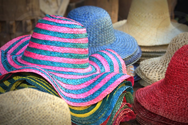 multicolored summer hat photo